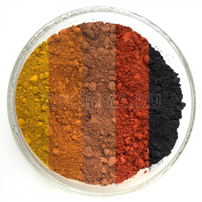 Комплект железоокисных пигментов (5 цветов), общий вес 1,5 кг